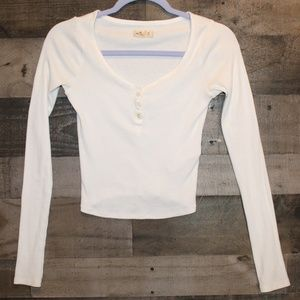 Hollister white crop top long sleeve